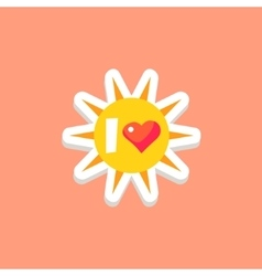 I love sun bright color summer inspired sticker vector