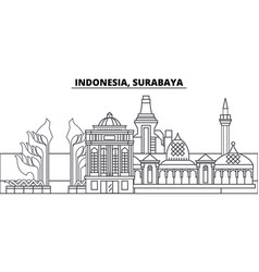 Indonesia surabaya line skyline vector