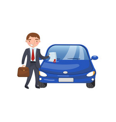 Insurance agent showing paper document car vector