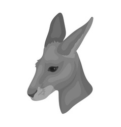 Kangaroo icon in monochrome style isolated on vector