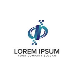letter i technology logo design concept template vector image