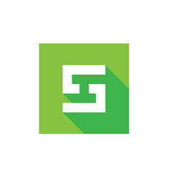 letter s logo combined with green square vector image