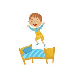 little boy jumping on a bed hoodlum cheerful kid vector image