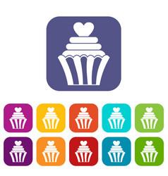 Love cupcake icons set flat vector