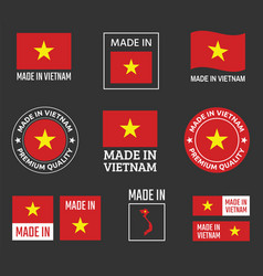 made in vietnam labels set socialist republic of vector image