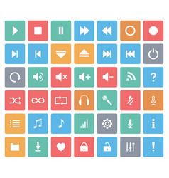 media player color icons set vector image