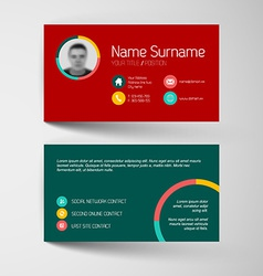 Modern red and teal business card template with vector