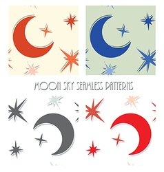 Moon star sky seamless vector