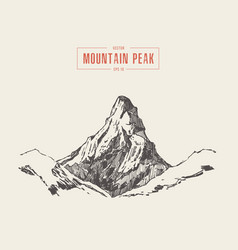 mountain peak engraving style hand drawn vector image