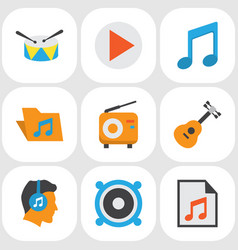 Music flat icons set collection of male button vector