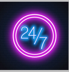 Neon 24 7 open sign brick wall vector