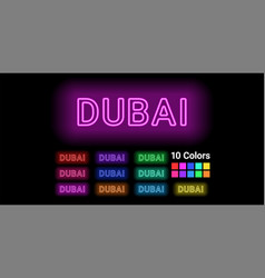 Neon name of dubai city vector