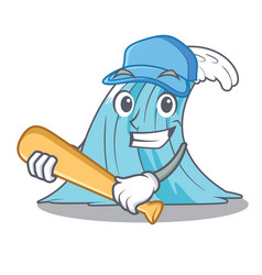 playing baseball wave character cartoon style vector image