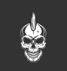 Punk rock skull with iroquois hairstyle vector