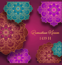 Ramadan kareem greeting card with colorful arabic vector