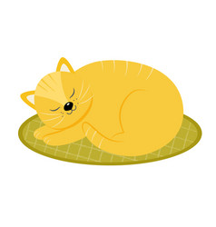 Red cat sleeping on the rug cartoon style vector