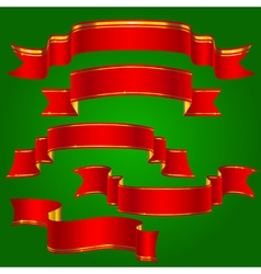 Red ribbons with golden stripes set vector