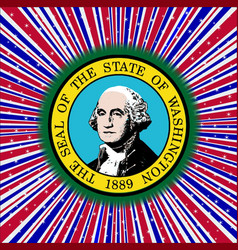 Red white and blue rays with washington state icon vector