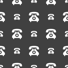 retro telephone handset icon sign Seamless pattern vector image