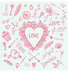 Romantic set love vintage vector