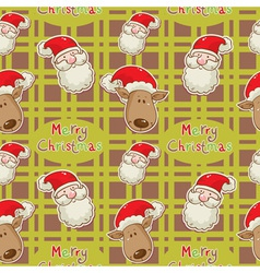 santa deer seamless big redgreen vector image