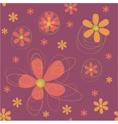 Seamless background with funky flowers vector image