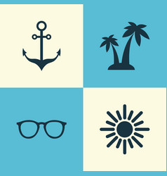 Season icons set collection of goggles trees vector