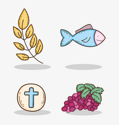 Set branches leaves with host and grapes with fish vector