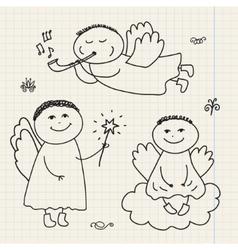 set doodle hand drawn christmas cartoon vector image
