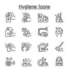 set hygiene related line icons contains such vector image