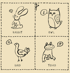 Set of cut out cards with cute animals hand drawn vector