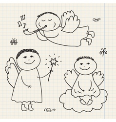 set of doodle hand drawn christmas cartoon vector image