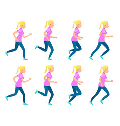 Set of running girl variety of sport movements vector