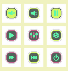 set ofcolor label design icon design buttons music vector image