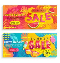 set summer sale banners flyers vector image