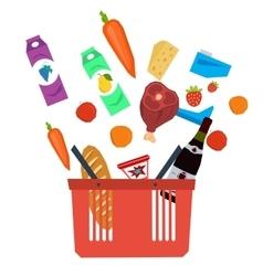 set supermarket basket with food vector image