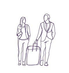Silhouette couple of business people travel vector