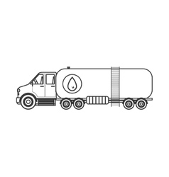 silhouette with truck transporter of fuel vector image