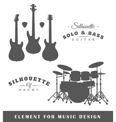 Silhouettes of guitars and drums vector
