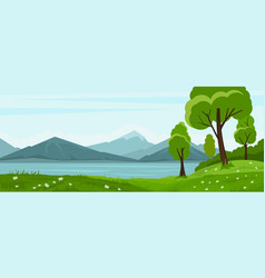 Summer landscape with trees and lake and mountain vector