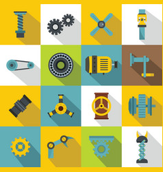 Techno mechanisms kit icons set flat style vector