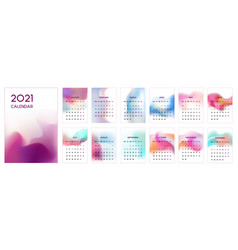 The 2021 calendar template with blur styled vector