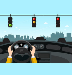 traffic lights on street car interior view with vector image