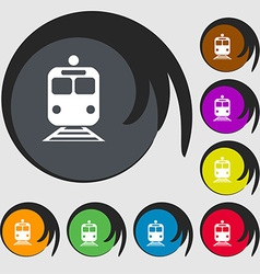 train icon sign Symbol on eight colored buttons vector image
