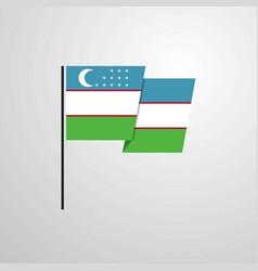 Uzbekistan waving flag design background vector