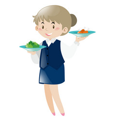 Waitress serving two dishes vector