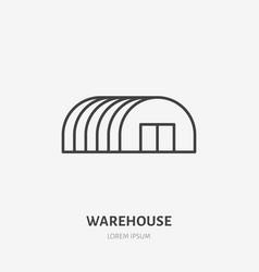 warehouse flat line icon storage building hangar vector image