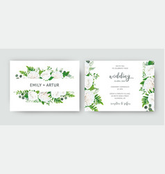 wedding invite card floral design white flowers vector image