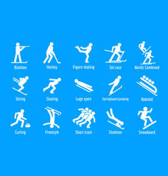 winter games icons set simple style vector image