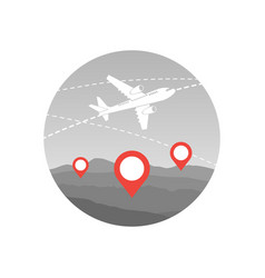 world travel plane icon airplane fly over map vector image